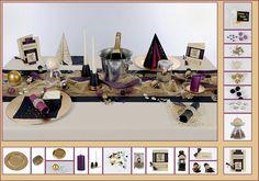Tischdeko Silvester 2 in Creme/Lila als Mustertisch - Tafeldeko.de