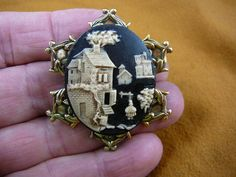 Village cottage House Castle Church Cameo pin pendant brass brooch