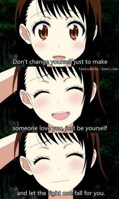 Anime : nisekoi não mudar a si mesmo apenas para fazer alguém amar você, simplesmente seja você mesmo e deixe o caminho certo cair para você