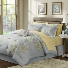 $93 Madison Park Avalon 9-Piece Comforter Set in Grey with sheets