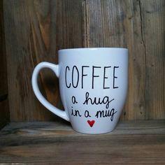 café par câlin en tasse, tasse à café amoureux, cadeau pour amateur de café, tasse à café drôle, unique mug à café, tasse à café manuscrites