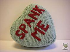 """spank me"" pillow #knit #ValentinesDay #knitting #naughty"