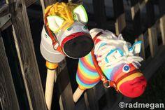 DIY Hobby Horses using socks, plush, yarn, felt and leather handbag straps.