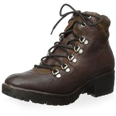 Khrio Women's Stella Lace-Up Hiking Ankle Boot ($31) ❤ liked on Polyvore featuring shoes, boots, ankle booties, lace up bootie, laced up boots, lace up ankle bootie, lug sole booties and quilted booties
