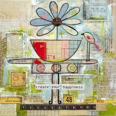 Create your Happiness - Art Journal [Michelle Defillipo] Mixed Media Journal, Mixed Media Collage, Mixed Media Canvas, Collage Art, Collages, Kunstjournal Inspiration, Art Journal Inspiration, Journal Ideas, Mix Media