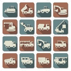 Vector Construction Machines Flat Icons  #GraphicRiver         Folder include EPS10, Ai and JPG files. EPS10, Ai files can edit in Adobe Illustrator CS5, CS5.5, CS6 and CS. 100% Vector. Vector Construction Machines Flat Icons isolated on white background. Blends used.                     Created: 7 December 13                    Graphics Files Included:   JPG Image #Vector EPS #AI Illustrator                   Layered:   No                   Minimum Adobe CS Version:   CS             Tags…