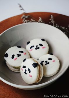 So cute you won't be able to eat 'em Panda Birthday Party, Panda Party, Birthday Ideas, Macarons, Black Food Coloring, Panda Cakes, Cute Baking, Macaron Recipe, Dark Chocolate Chips