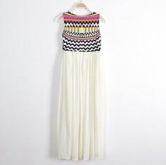 Women Indian Ethnic Printed Geometric Embroidery Bohemian Maxi Dress Summer Stitching Pleated Beach Party Chiffon Dresses