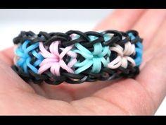 Rainbow Loom Starburst Bracelet with 2 forks no hook – Colorful Rubber Bands .DIY.