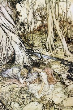 Where often you and I upon faint primrose-buds were wont to lie, emptying our bosoms of their counsel sweet. A Midsummer-Night's Dream illus. Arthur Rackham
