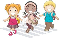 Royalty Free Clipart Image of Children Crossing a Street