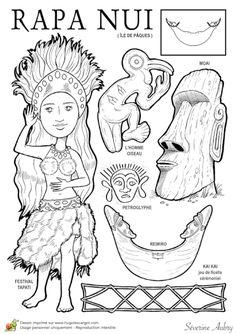 """Coloriage et illustration d'un pays du Monde, l'île de Pâques. Appelée aussi Rapa Nui, c'est une petite île du Chili perdue dans l'océan Pacifique. L'île habitée la plus proche est à 2000 km. L'île de Pâques est surtout connue pour ses statues monumentales que l'on appelle des """" Moaï """". L'île en comprend 1042 d'une hauteur d'environ 4 m. L'île fut aperçue pour la première fois en 1687 par un pirate du nom d'Edward Davis."""