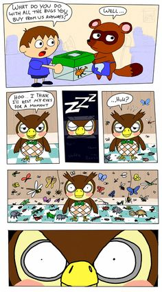 Animal Crossing - What Nook does with all the bugs you sell to him Animal Crossing Fan Art, Animal Crossing Memes, Animal Crossing Characters, Animal Crossing Villagers, Animal Crossing Welcome Amiibo, Video Games Funny, Funny Games, Funny Animals, Cute Animals