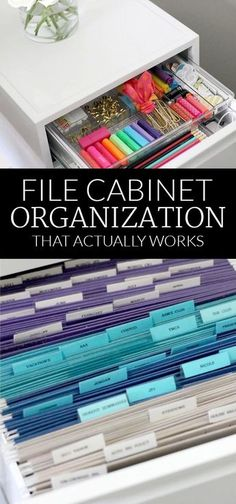 Office Organization File Cabinet Organization {Organizing in Style} - Polished Habitat Organisation Hacks, Filing Cabinet Organization, Office Organization At Work, Organizing Paperwork, Home Office Storage, Home Office Design, Home Office Decor, Filing Cabinets, Storage Organization