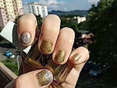 #nails#gold#silver#bright#gelshine