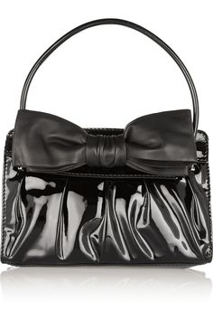 VALENTINO Patent-Leather Shoulder Bag. #valentino #bags #shoulder bags #hand bags #patent