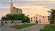 The Emily Morgan Hotel in San Antonio, with the Alamo in the foreground.
