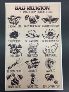 #music Bad Religion - I made some tattoo flash for their 90's album Stranger Than Fiction