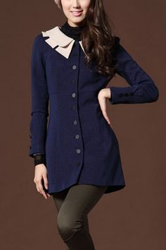 This trench coat crafted in polyester and spandex, featuring contrast colored double layer peter pan collar, single breasted, long sleeve with buttons embellishment, in maxi length cut, all in regular fit.$95