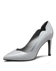 #VIPme 👠👠Light Grey Cow Leather Pointed Toe Wave-Cut Stilettos. Find more fashion inspiration at VIPme.com