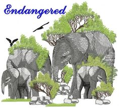 Entry   11      Chris Huysamen HONORABLE MENTION - $25 Club 100 Credits We need to save these gentle giants from the corporate poachers around the world.   Designs Used: FBFC160 Stones; FBFC878 Elephant; FBFC790 Tree; FBFC1255 Birds; Gentle Giant, Free Design, Machine Embroidery, Moose Art, Elephant, Stones, Around The Worlds, Birds, Club