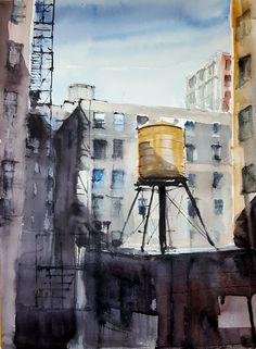 New York - Pintura,  36x51 cm ©2017 por Jacques Villares -                                                                                      Realismo, Papel, Arquitectura, Ciudades, Paisaje urbano, acuarela, watercolor, watercolour, acquerello, aquarelle, NewYork, tejados, ciudades, urbanos