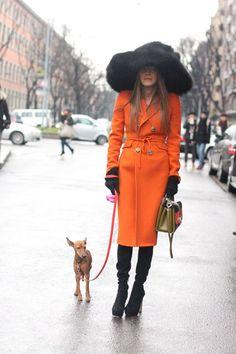 #streetstyle #orange   Anna Dello Russo