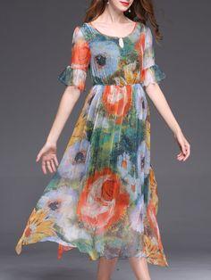 #AdoreWe #StyleWe Midi Dresses - Designer UISWAN Silk Frill Sleeve Keyhole Casual Printed Holiday Dress - AdoreWe.com