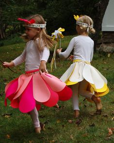 flower halloween costumes (If I was a little girl, I would just want to wear those skirts all the time!!)