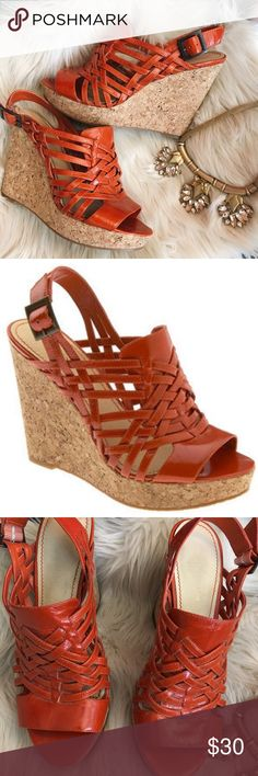 Enzo Angiolini muffin orange cork wedges 7 These are great with shorts or a dress for summer! These have a patent leather upper and a rubber bottom. Great condition, quality heels. Happy to give measurements or additional photos upon request. Enzo Angiolini Shoes Wedges