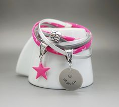 bracelet manchette cuir daim liberty prénom gravé rose argenté étoile coeur : Bracelet par dans-mon-atelier