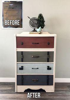 The Suitcase Dresser #DIY #furniturepaint #paintedfurniture #homedecor #chalkpaint #suitcase #dresser #funky #refurbish #countrychicpaint - blog.countrychicpaint.com