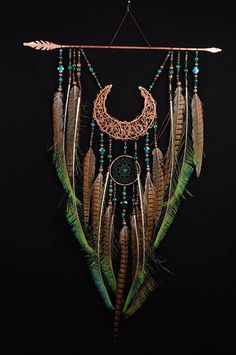 Arrow Copper Moon Dreamcatcher green dreamcatcher brown