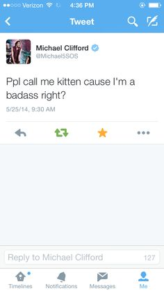 Lol Michael. <3 My little kitten. Haha! See what I did there?
