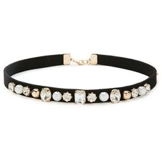 Forever 21 Bejeweled Strap Choker ($5.90) ❤ liked on Polyvore featuring jewelry, necklaces, womens jewellery, pandora jewelry, cross necklace, choker and polish jewelry