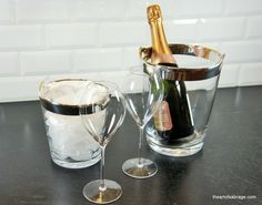 Champagne cooler & ice bucket in cristal and silver with 2 mouth blown Champagne cristal glasses
