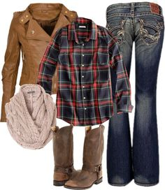 """""""Leather and Flannel"""" by small-town-country-gurl on Polyvore"""