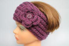 Kopfbedeckung - Stirnband häkeln mit Blume Farbe Heidekraut  - ein Designerstück von ArtEve bei DaWanda