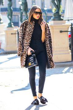 Olivia Culpo rocking one of winter's best coat trends—leopard print.