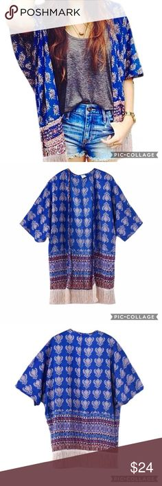 🍹BOGO50% SALE!🍹 NWT Fringe Kimono Lightweight poly blend Kimono with cream fringe! Great as a fun swim cover up!                                            💠ASK FOR A BOGO50% BUNDLE listing to be created for your selections to receive discount!                         💠BOGO 50% OFF! Buy 1 item and get 2nd item of equal or less price at 50% OFF!                                TAGS: swim cover up, kimono, floral kimono, fringe kimono Swim Coverups