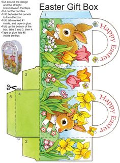 """Dover Publications Easy Easter Tabletop Crafts: 12 """"Eggscellent"""" Cut & Make Decorations Easter gift box Easter Projects, Easter Crafts For Kids, Easter Gift, Easter Bunny, Kid Crafts, Happy Easter, Diy Ostern, Easter Printables, Party Printables"""