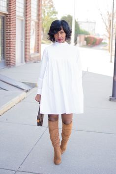 Sweenee Style, Indianapolis Style Blog, Fall Outfit Idea, WHite Shirt Dress, Denim Poncho
