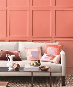 Amp up your living room color palette with springy salmon pink walls. Living Room Colors, Living Room Decor, Pantone, Coral Walls, Interior Decorating, Interior Design, Home Decor Inspiration, Home Projects, Decoration