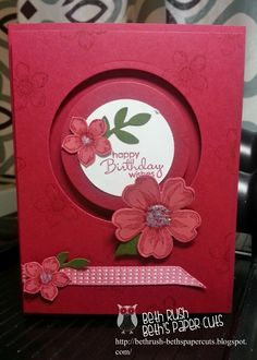 Stampin' Up! ... handmade card from Beth's Paper Cuts: Flower spinner ... clever design ... luv the  monochromatic red colors ...