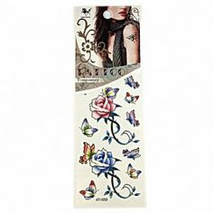Taobaopit Coloful Butterflies and Roses Waterproof Temporary Tattoo Body Art Sticker(10 pcs/lot) by Taobaopit. $4.99. * Looks real & seamless. * Unisex and one size fits most.. * Easy on and off, they can be removed with baby oil or rubbing alcohol.. * Recommended Ages 9 to adult. WARNING: CHOKING HAZARD -- Small parts. Not for children under 3 yrs.. * 100% waterproof and can last up to 7 days.. Gender : Unisex Dimensions : 6cm*12cm (Packing Size:6cm*18cm)