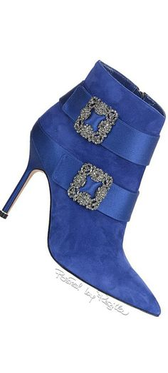 "Manolo Blahnik ""Hangisi"" electric-blue-suede pointed-toe high-heeled ankle boot with filigree-silver buckles"