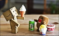 Danbo with an icecream and Domo with pleanty of food! :D