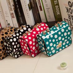 Fashion Girls Candy Color Polka Dots Chain Cross-Body Shoulder Sling Bag 8€