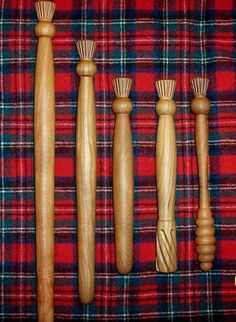 Wooden cooking utensils sporting the Scottish thistle pattern; sold on eBay