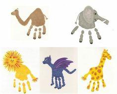 kamel, elefant, löwe, drachen, giraffe - handabdruck bilder Toddler Craft Ideas - Fun Ideas to Have Kids Crafts, Diy And Crafts, Arts And Crafts, Family Crafts, Toddler Crafts, Handprint Art, Creative Kids, Creative Crafts, Kids And Parenting